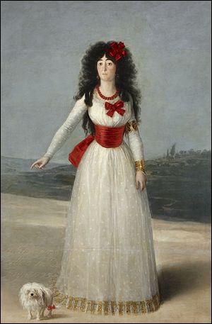 Qui a représenté la duchesse blanche parée de ses rubans rouges ?