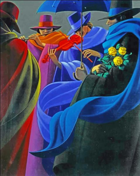 Voici des musiciens entourés de rubans, qui est l'artiste les ayant imaginés, plus connu pour ses peintures représentant des parapluies ?