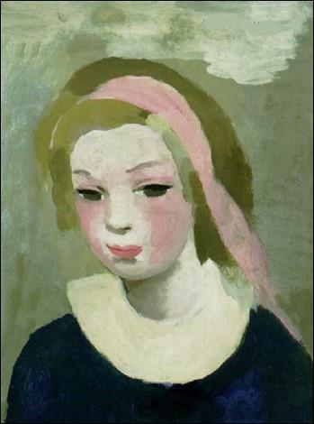 """Son œuvre s'intitule """"Jeune fille au ruban, et au corsage bleu"""" :"""