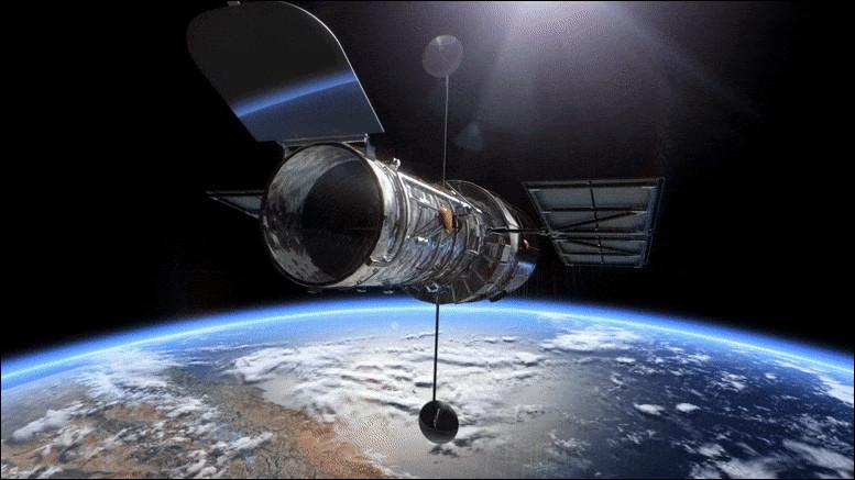 Placé à 600 kilomètres de la Terre, le télescope Hubble réalise un tour complet de notre planète en deux heures. Quelle est sa vitesse angulaire ?