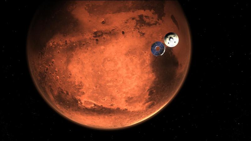 """On m'appelle parfois """"la planète rouge"""". De plus, je suis la planète tellurique qui possède le plus haut volcan du Système solaire, culminant à environ 27 000 mètres.Qui suis-je ?"""