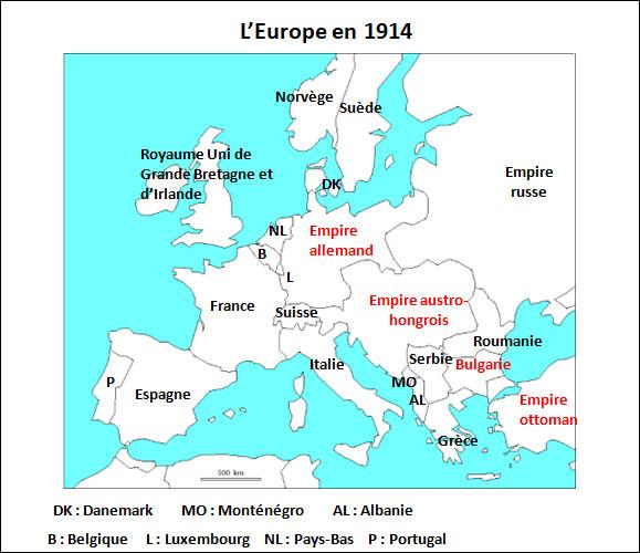 Quels étaient les pays membres de la Triple Entente ?(au début de la guerre)