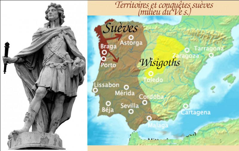 """En 449, Rechiar, roi suève christianisé, est l'unique """"barbare"""" à s'allier officiellement aux bagaudes de Basilius : dans vallée de l'Èbre, ils prennent Caesaraugusta [aujourd'hui ?...] et Lleida (Catalogne)."""