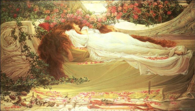 Quelles fleurs voit-on au-dessus de l'endormie ?