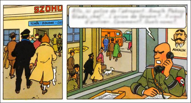 """1954 > Hergé serait-il visionnaire ? On voit en 2e case le portrait d'un homme au nom plutôt oriental (le fameux """"Amaïh"""") recherché pour terrorisme. Qu'en est-il ?"""