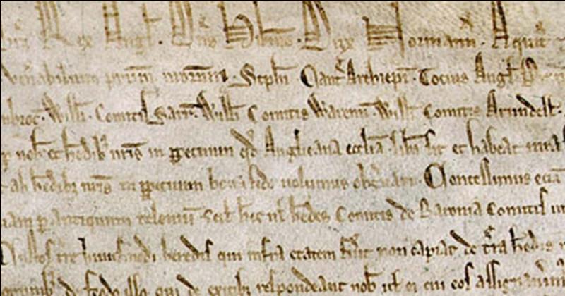 En quelle année et par qui fut signé la Magna Carta ?