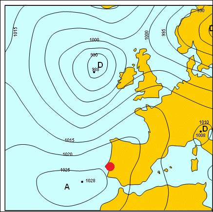 Et enfin, nous nous dirigeons au Portugal avec une pression proche de 1025 hPa sous un beau soleil, nous sommes dans une zone...