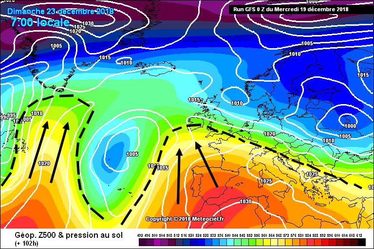 Cas contraire, on retrouve cette même carte avec la représentation de 2 dorsales, mais on peut y distinguer un engouffrement de basses-pressions vers le Sud au milieu de l'Atlantique, on nomme cette zone un...