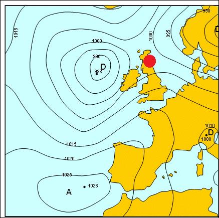 Mettons cela en pratique désormais. Nous nous trouvons en Écosse (point rouge) avec une pression comprise entre 1000 et 1002 hPa et un temps pluvieux, nous nous trouvons donc dans une...
