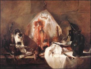 """Ce tableau de Jean Siméon Chardin aurait pu s'intituler """"La raie au milieu"""", mais ce n'est pas le cas. Quel est son titre ?"""