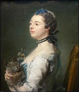 Quel type de chat est représenté avec sa maîtresse sur ce tableau de Jean-Baptiste Perronneau peintre du XVIIIe siècle ?