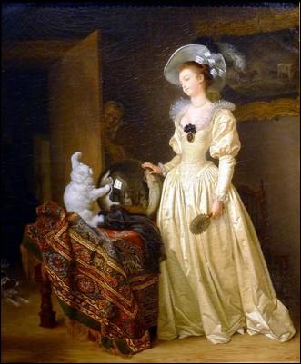 Qui est le peintre de ce chat angora faisant le guignol devant une boule de cristal ?