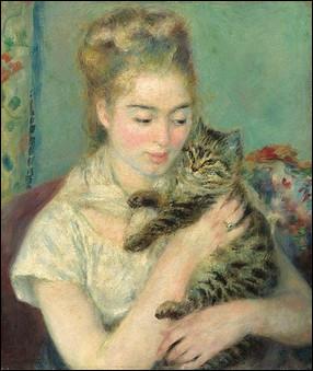 """Qui est le peintre bien connu de cette """"Femme au chat"""" ?"""