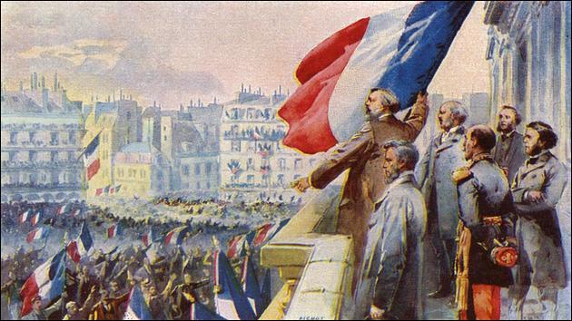 Après la défaite de Sedan et la capture de Napoléon III, la République est proclamée, à Paris, place de l'Hôtel de Ville, le ...