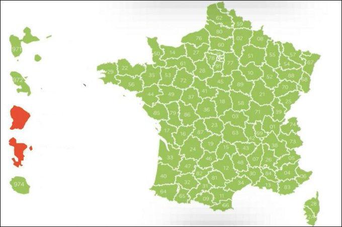 Comme le montre cette carte, la France est gravement atteinte, sauf dans deux départements : lesquels ?