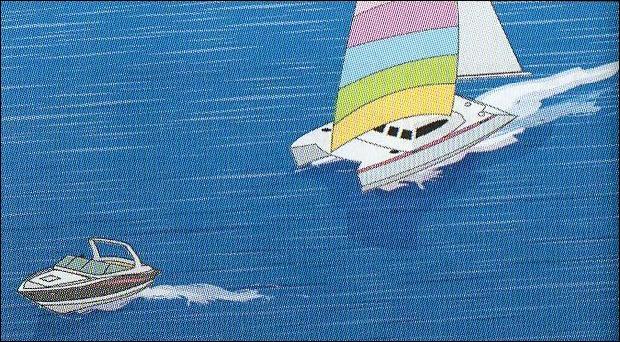 A bord d'un navire à moteur, vous êtes rattrapé par un voilier. Que faites-vous ?
