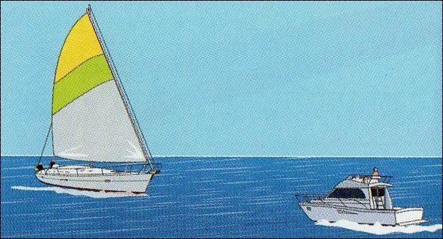 Un bateau à moteur et voilier font des routes directement opposées :