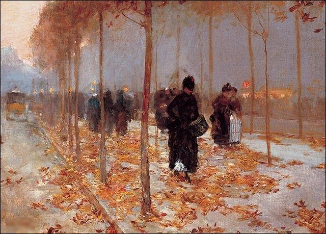 """""""Scène de rue à Paris, automne"""" est de quel impressionniste américain ?"""