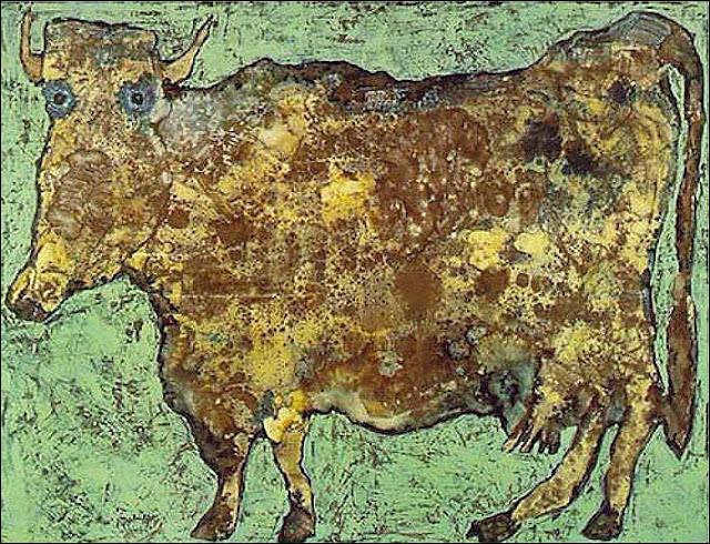 Quel peintre (premier théoricien d'un style d'art auquel il a donné le nom ''d'art brut'') est l'auteur de ce tableau intitulé ''La Vache au nez subtil'' ?