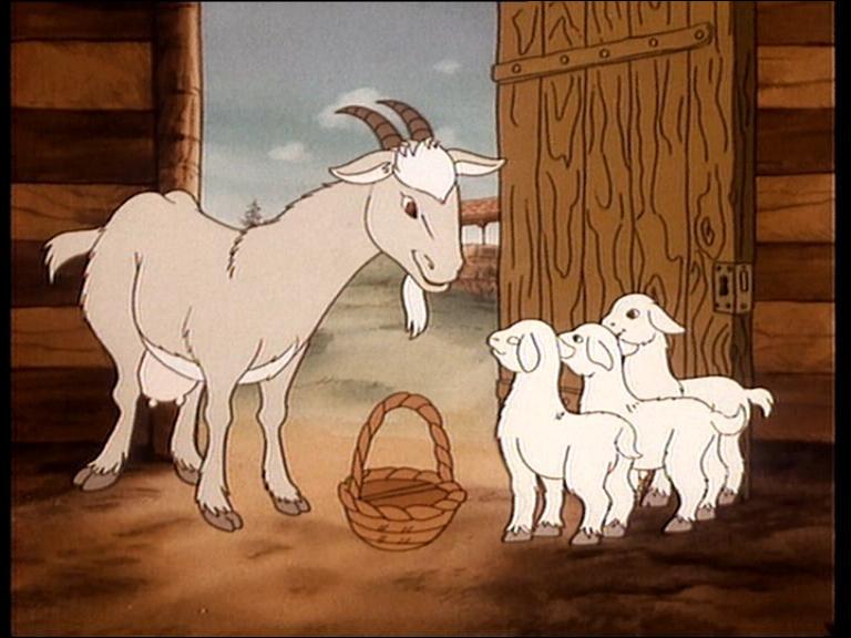 Voici le soir, madame Chèvre rentre chez elle et demande si les enfants ont été sages !-Pas du tout, faites des gosses ! C'est inassumable 3 gosses ! Enfin ne nous plaignons pas, chez La Fontaine, ils étaient...