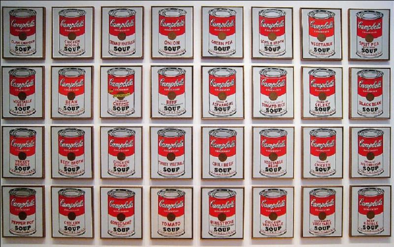 Qui est l'auteur de cette oeuvre d'art dont le titre est ''Campbell's Soup Cans'', souvent appelée ''32 boîtes de soupe Campbell'' ?