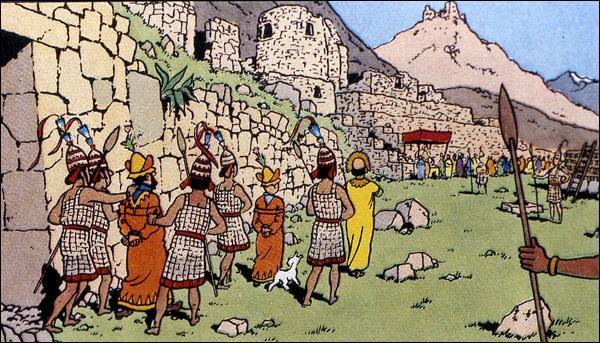 Quel phénomène naturel sauva Tintin et ses amis du bûcher dans l'album 'Le Temple du Soleil' ?