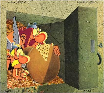 Sur quelle couverture d'album peut-on voir Astérix et Obélix installés dans un coffre-fort rempli de fromage ?