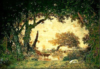 Quel peintre membre de l'école de Barbizon a réalisé 'Sortie de forêt à Fontainebleau au soleil couchant' ?