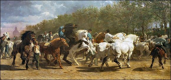 Quel peintre spécialiste des représentations animalières a réalisé 'Le marché aux chevaux' ?