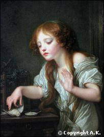 Quel peintre français du 18ème siècle a réalisé 'La jeune fille pleurant son oiseau mort' ?