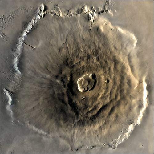 Comment s'appelle le plus haut volcan du Système Solaire situé sur Mars (540 km de large, et 27 km d'altitude) ?