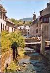 Une vieille cité dominée par sa tour de l'Horloge, au-dessus de l'Urugne, dont l'eau, conduite par de minces canaux, court à travers des ruelles pavées, sous des ponts.
