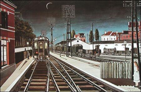 Quelle était la nationalité de Paul Delvaux, peintre ayant réalisé 'Trains du soir' ?