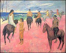 Quel peintre décédé aux îles Marquises y a réalisé 'Cavaliers sur la plage' ?