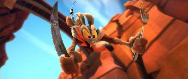 Devant quel film pour enfant sera diffusé le premier des trois court-métrages d'animation en 3D de Bip-Bip et le Coyote ?