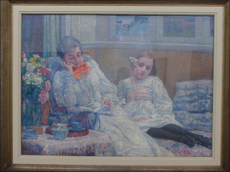 Quel peintre a représenté sa femme et sa fille dans 'Une femme lisant et une fillette' ?