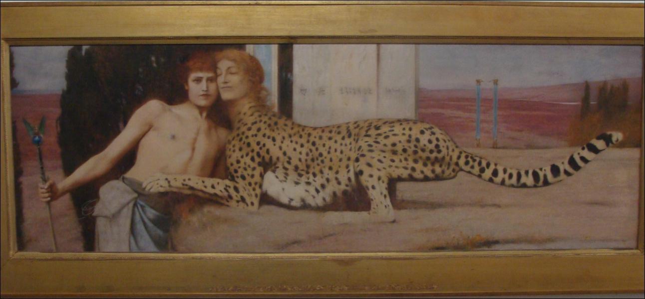 Quel peintre a réalisé 'Des caresses' aussi appelé 'L'Art ou le Sphinx' ?