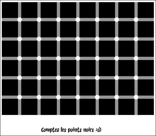 Comptez combien y a-t-il de points noirs ? Bonne chance.