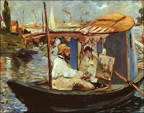 Qui a peint Monet peignant sur son bâteau ?