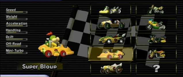 Cette image retouchée provient de Mario Kart Wii. Mais une erreur s'y est glissée. Quelle est-elle ? (ce n'est pas les noms anglais dans les statistiques)