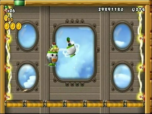 Extraite du jeu New Super Mario Bros. Wii, cette image possède une erreur. Laquelle ?