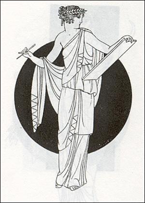 Muse de la Poésie épique et de l'Eloquence, elle est couronnée d'or, Elle se nomme. .