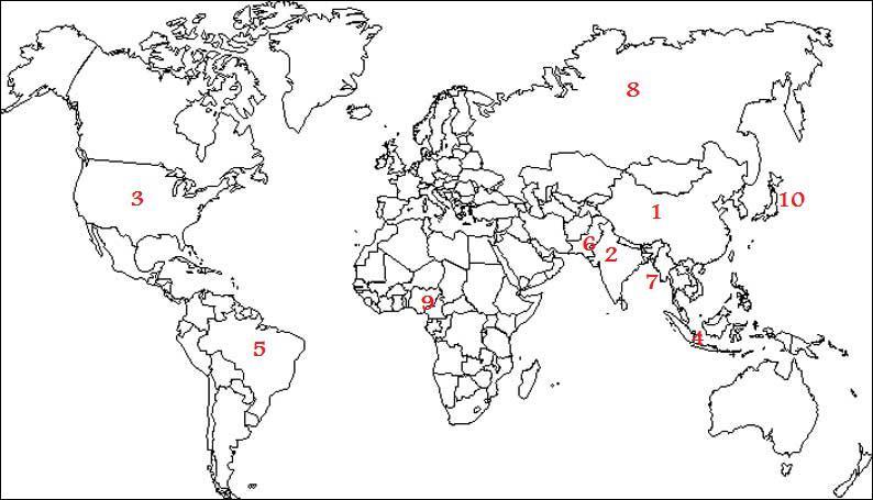 Sur ce planisphère des pays les plus peuplés du monde, le numéro 10 correspond :