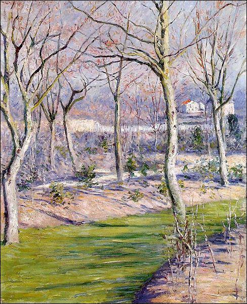 Quel peintre a réalisé 'Jardin du petit Genevilliers en hiver' ?