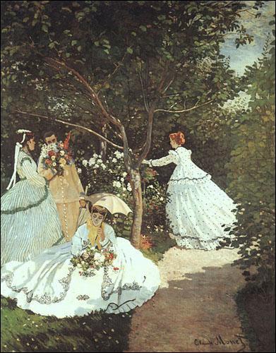 De quel peintre la toile 'Femmes au jardin' est-elle l'une des premières oeuvres ?