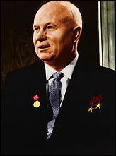 Célèbre par le fait qu'il frappa la table avec son soulier lors d'une séance de l'ONU. Qui est ce chef d'État de l'URSS ?