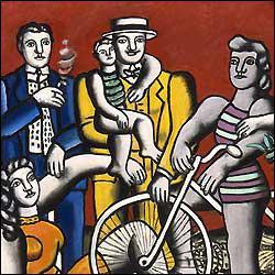 Quel peintre cubiste a réalisé 'Les loisirs sur fond rouge' ?