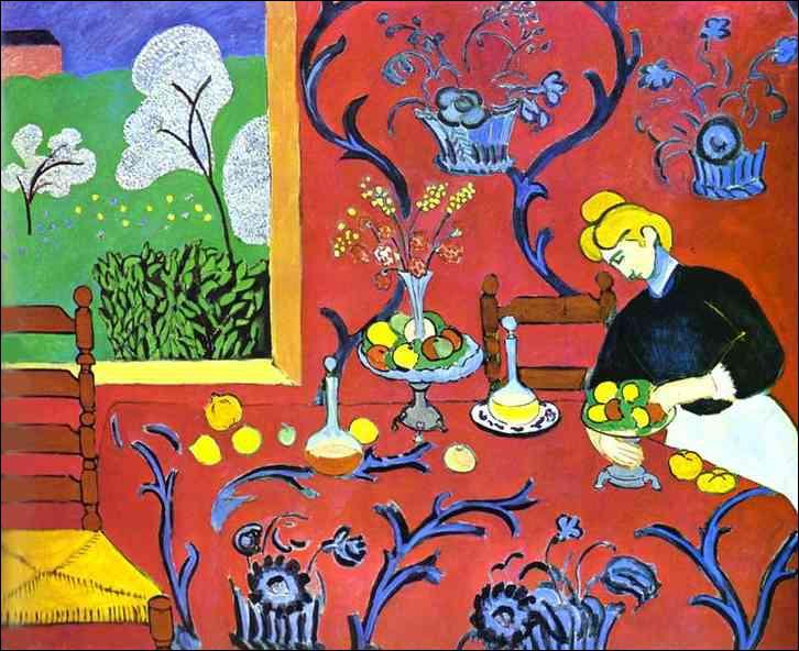 Quel peintre chef de file du fauvisme a réalisé 'La desserte, harmonie rouge' ?