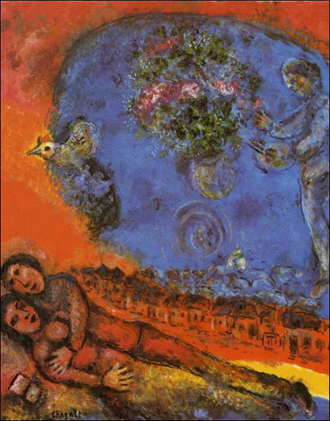 Quel peintre d'origine russe a réalisé 'Couple sur un fond rouge' ?