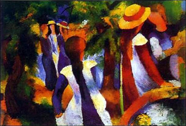 Quel peintre allemand a représenté 'Jeunes filles sous les arbres' ?